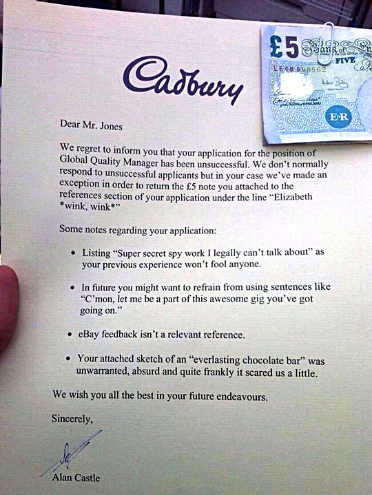 The Cadbury Rejection Letter: What You Can Learn From It