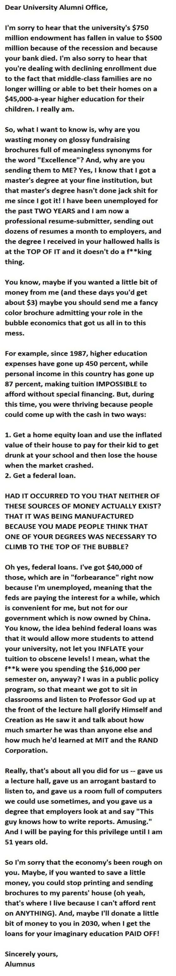 Angry grad letter